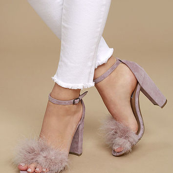 Steve Madden Carabu Rose Suede Leather Feather Heels