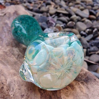 Tropical Rainforest with Fluffy White Clouds Glass Pipe - Color Changing Smoking Pipe - Handmade in USA by FlabbaGlass Designs