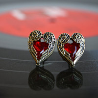 Pair of Vintage Style Angle Wing Heart Shape Earrings. Cute Earring with Shinny Artificial Red Diamond. Love and Peace Earrings.