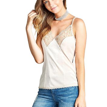 Lace trim velvet top