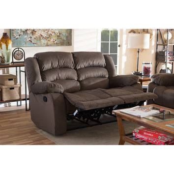 Baxton Studio Hollace Modern and Contemporary Taupe Microsuede 2-Seater Recliner Set of 1