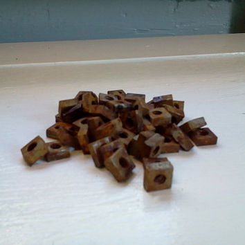Vintage, Square, Nuts, 1 lb, Hardware, Craft, Salvage