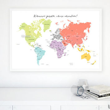 "36x24"" Printable world map, diy travel pinboard map, bright colors world map, colorful wall art, nursery map, colorful nursery - map026 I03"