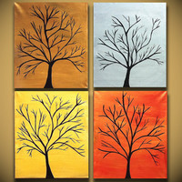 Large Tree Painting for Sale Four Canvases Modern Abstract Art Original Wall Art Handmade 64x20 Copper Bronze Silver Gold