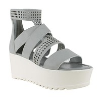 Womens Platform Shoes Strappy Buckle Accent Platform Shoes Gray
