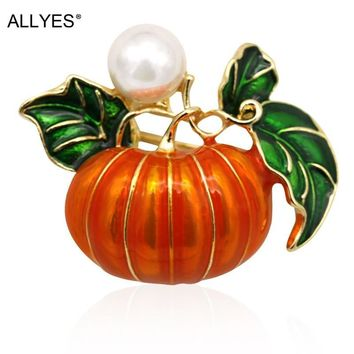 ALLYES Vegetable Pumpkin Brooches For Women Female Gold Color Metal Pearl Costume Lapel Large Enamel Pin Brooch Jewelry