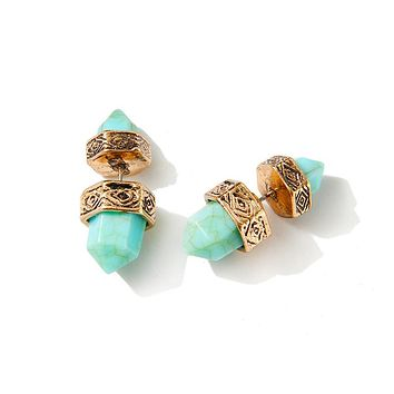 Turquoise Double Marble Earrings