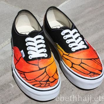 Monarch Butterfly Inspired Custom Hand Painted Vans Sneakers