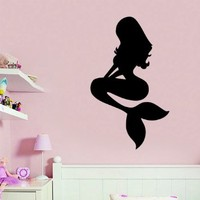 Wall Decals Vinyl Decal Sticker Bedroom Home Interior Design Art Mural Girl Mermaid Sea Ocean Water Nymph Kids Nursery Baby Room Decor
