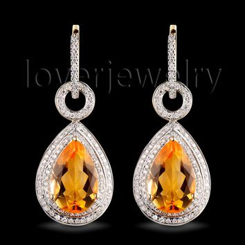 14KT Yellow Gold Citrine Earrings,Pear Citrine Drop Earrings