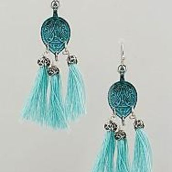 Louder than Words Teal Tassel Earrings