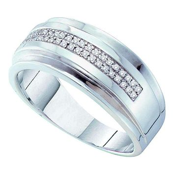 10kt White Gold Men's Round Pave-set Diamond Double Row Wedding Band Ring 1/6 Cttw - FREE Shipping (US/CAN)