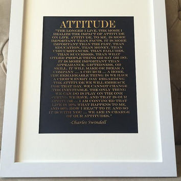 "Framed Real Gold Foil Charles Swindoll Print on Black Matte Paper. ""Attitude"" Inspirational Quote, home or office decor"