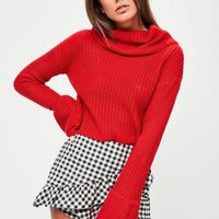 Missguided - Red Open Stitch Roll Neck Knitted Jumper
