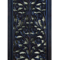 Ebony Black Hand Carved Wood Wall Decor Sculpture