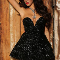 Black Strapless Sweetheart Neck Sequined Mini Skater Dress