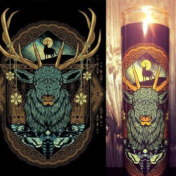 Celtic, Celtic Stag, Mystic, Gaia, Wicca, Illuminati, Occult,  Scented Candle, Candle, Prayer candle, Gift for him, Cool Gifts, Gift