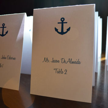 Fold over Nautical Wedding Anchor white shimmer place cards anchor seating cards metallic folded table card white shimmer nautical cards