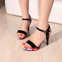 Flower Printed Ankle Straps Platform Sandals High Heels 4630