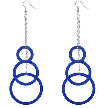 Blue Wooden Cascade Drop Chain Hoop Earrings