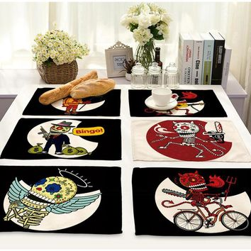 2Pcs 42*32CM Cloth Table Mats Skull Placemat Cotton Fabric Table Mat Dishware Coaster For Kitchen Accessories Mat Pad