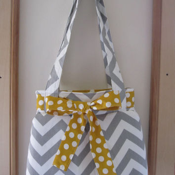 Chevron Shoulder Pleated Handbag, Purse Ipad Netbook Tote  in Gray and White Made in USA
