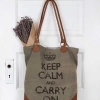 Leather & Canvas Keep Calm Tote Bag