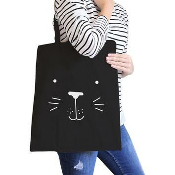 Seal Cute Face Black Canvas Bag Back to School Gift Tote Bags