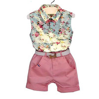 2016 fashion sleeveless print summer style baby  girls Shirt + shorts + belt 3pcs suit children clothing sets