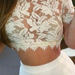 White High Neckline Short Sleeved Sheer Lace Crop Top with Fringe Detail