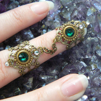 double armor ring chained ring Swarovski GREEN knuckle ring claw ring nail tip ring
