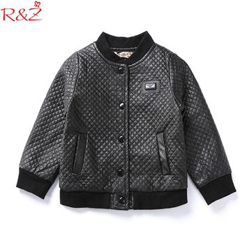 R&Z Boys Clothes Coats 2017 Winter Fashion Black Plaid UP Leather Round Neck Warm Jackets for Kids Clothes Children's Clothing