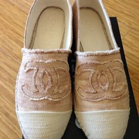 NEW STYLE 2013 2014 14C Chanel dark beige canvas CC espadrilles shoes flats 39