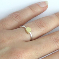 Solid Gold and Silver Delicate Cube Ring - 14k Gold and Sterling Silver Combination