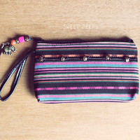Hipster Tribal Print Pouch, Pencil Pouch, Cosmetic Pouch Bag, Bohemian Pouch