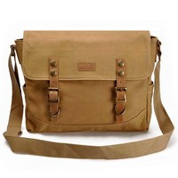 "ZLYC Vintage Mens Casual Canvas Leather Handbag Satchel Messenger Single Shoulder Bag Bookbag Fits 14"" Laptops Khaki"