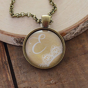 Personalized Initial Necklace, Bridesmaids Gift Pendant, White & Kraft Wedding Jewelry, Custom Initial Necklace