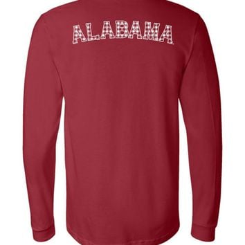 Official NCAA Venley University of Alabama Crimson Tide UA ROLL TIDE! Plaid Print Long Sleeve T-Shirt - 35AL-57