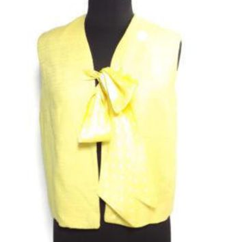 SAKS FIFTH AVENUE Womens VINTAGE Bright Yellow Linen & Silk Vest Jacket Size 10