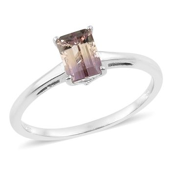 Ametrine Platinum Over Sterling Silver Solitaire Ring
