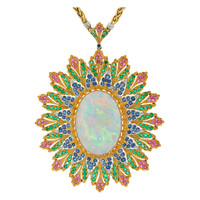 1960's Buccellati Opal Gems & Yellow Gold Pendant / Necklace / Brooch