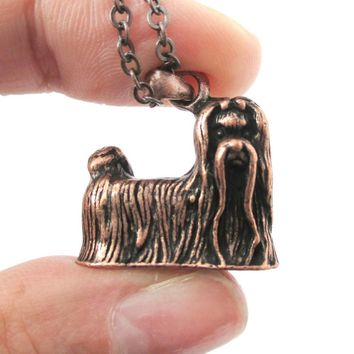 Realistic Long Haired Maltese Puppy Dog Shaped Necklace in Copper