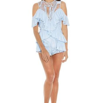 Light Blue Lace Cold Shoulder Playsuit