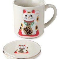 KITTY CUP WITH LID | Japanese Lucky Cat Porcelain Mug For Tea Or Coffee | UncommonGoods