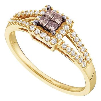 14kt Yellow Gold Womens Princess Cognac-brown Color Enhanced Diamond Split-shank Cluster Ring 1/3 Cttw
