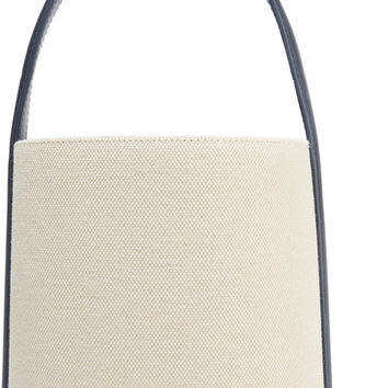 Solid and Striped - + Staud leather-trimmed cotton-canvas bucket bag