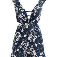 Multicolor Plunge Neck Floral Backless Ruffle Romper Playsuit
