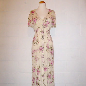 Vintage 80s Cream Floral Maxi Dress / Empire Waist Dress / Spring Dress / size 2 / 4 / extra small