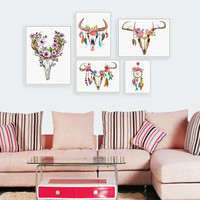 Vintage Retro Animal Deer Head Skull Feather Art Print Wall Picture Canvas Painting - ^FREE SHIPPING*