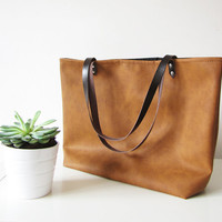 Large Vegan Leather Tote Bag, Slouchy Tote, Cognac Color, Distressed Rustic Look, Casual tote